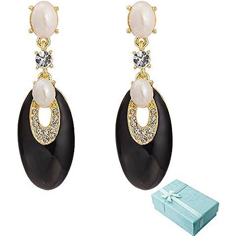 Acxico oro metallo con perle di vetro Ciondolo con farfalla e fiori Orecchini gioiello Oval: Nero