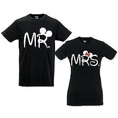 Idea Regalo - Coppia di T Shirt Love You And Me Mr And Mrs Mouse Nere Uomo M - Donna S
