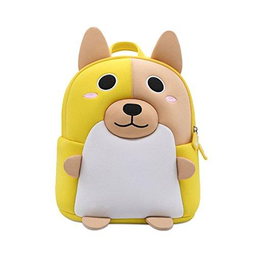 Nette personalisierte Cartoon Kinder Corgi Dog Rucksack, Tier Rucksack für 2-6 Jahre alte Kinder für Kindergarten Vorschule Outdoor-Reisen vorhanden (gelb)