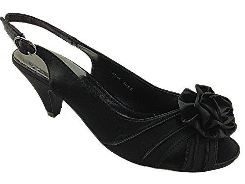 a8476ee75e48e Femmes Occasions Enya Satin Rosetta Fleur Talon Bobine Mariage Soirée  Chaussures Sandales Taille 3-8