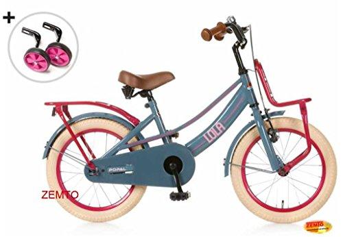 Mädchen Hollandrad 16 Zoll Lola dunkel grau -rosa