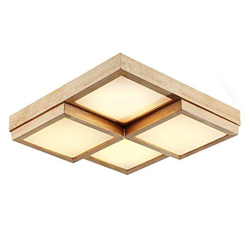 ShengYe Lámpara colgante de techo estilo rústico Madera maciza LED lámpara de techo cuadrado pequeño dormitorio matrimonio a la luz de la sala y una lámpara de araña 46*46*10cm.