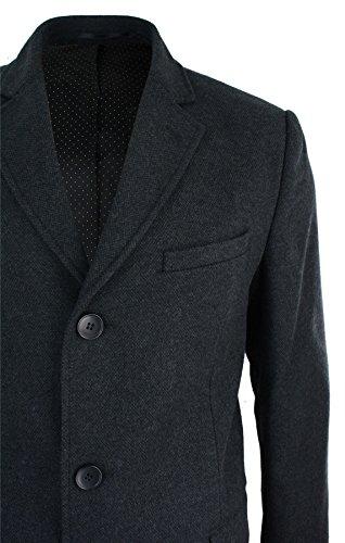 Herrenjacke Kaschmir Wolle Grau 3/4 Länge Mantel Klassischer Schnitt Neu Grau