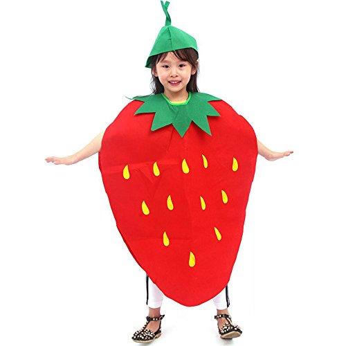 Amaoma Faschingskostüme für Kinder Früchte, Non Woven Umwelt Performance Kleidung für Fasching, Erdbeerkostüm für Kinder Obst und Gemüse Handgefertigt Kleidung, Fit für die Höhe: 90-145cm (Erdbeeren) (Erdbeere Kleinkind-halloween-kostüm)