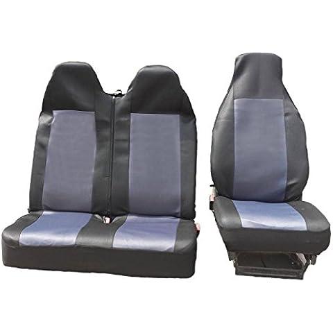2+ 1Talla 2Negro de gris Asiento Asiento Asiento Fundas de asiento, fundas para Volkswagen Transporter V Front