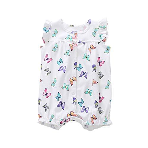 Livoral Baby Born Baby-Säuglingsmädchen-Jungen-Einteiler-Karikatur-gestreifte Druckspielanzug-Bodysuit-Kleidung(Weiß,6M)