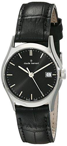 claude bernard Women's 28mm Black Calfskin Band Steel Case Swiss Quartz Analog Watch 54003 3 NIN