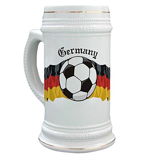 CafePress-Deutsch Fußball/Deutschland Fußball-Bier Stein, 22Oz Keramik Trinken Tasse (Deutschland 2006 Fussball Ball)