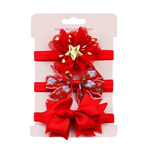 erthome Baby Haarnadel, Kinder elastisches Blumen Stirnband Haar Mädchen Baby Bowknot Haarband Set 3Pcs (Rot)