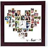 12In X 12Inpersonalised/Customised Photo Frame Wall Clocks Heart Shaped Collage
