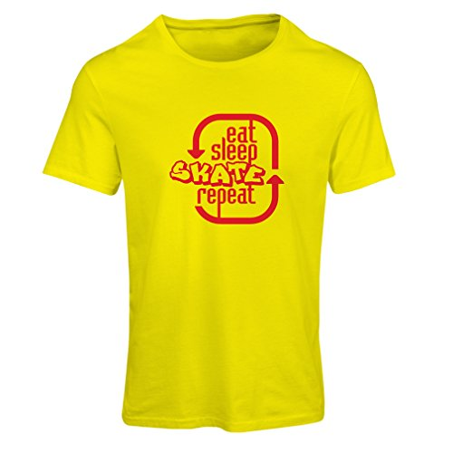 N4194F Eat Sleep Skate Repeat Short Sleeve t-shirt femelle Yellow Red