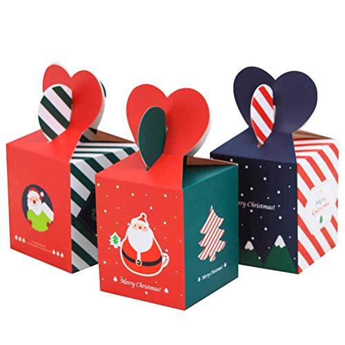 (BESTOYARD 12 stücke Weihnachtsgeschenkboxen mit Herz Süßigkeitskästen Parteibevorzugung Heiligabend Box Weihnachten Party Papier Goody Bags Geschenk)