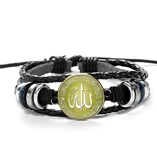 MHOOOA Lederarmband Gott Allah Charms Armbänder Männer Religiöser Glaube Muslim Schmuck Pulseira Masculina
