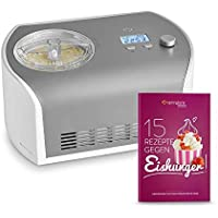 Máquina de Hacer Helados con Compresor de 1,2 litros Elli, Recetas incluidas, Heladera de acero para yogur, Sorbete y Helado, 135 W, display LCD, temporizador, refrigeración