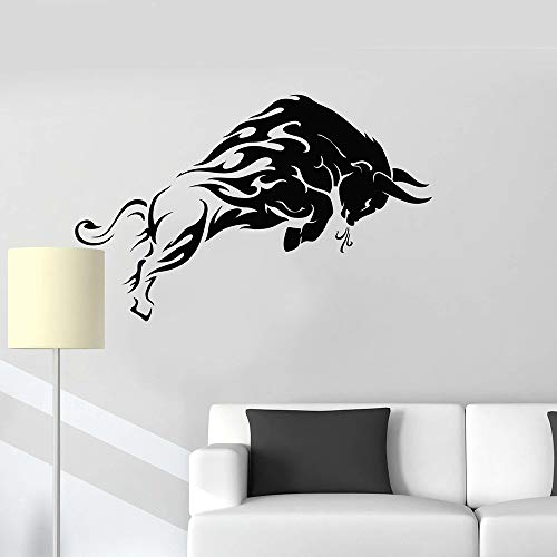 WWYJN Angry Cow Animal Tribe Vinyl Wall Decal Sticker Decorative Pattern Home Decor Living Room Art Mural Gray 43x72 cm