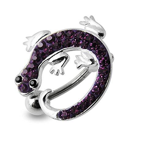 Bijou nombril pendant en argent sterling 925 Gecko pierre fantaisie avec Banane 14Gx3/8(1.6x10MM) acier chirurgical 316L et boule 5mm. Purple