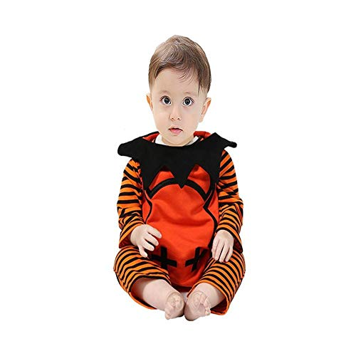 ODJOY-FAN Säugling Baby Junge Gestreift Monster Spielanzug + Weste + Hut 3-Teiliges Set, Halloween Outfits Einstellen Performance Kleidung Baby Klein Dämon Romper (Orange ,90)