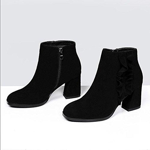 KHSKX-La Version Coréenne De LNoir 7Cm Carré Cuir Chaussures Pour Femmes Avec Une Fermeture Éclair Et Grossier Et Occasionnels Bottes Polyvalent Et Bottes Femme Nue 36
