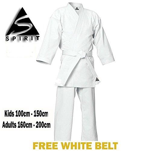 Spirit - Kimono de artes marciales (polialgodón, 255 g), color blanco Talla:3/160cm