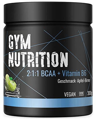 BCAA PULVER + VITAMIN B6 Höchste Dosierung der Amino-Säuren Leucin, Isoleucin und Valin im Verhältnis 2:1:1 Vegan und hochdosiert APFEL-BIRNE