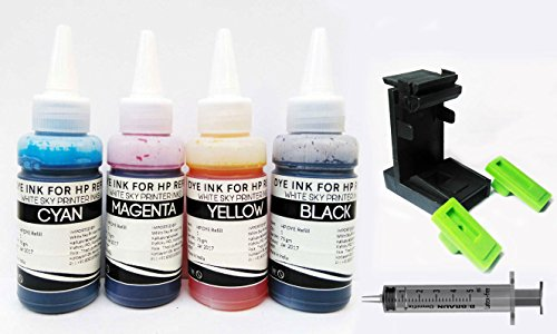 White Sky HP Printer Refill Ink with Suction Tool for Cartridges HP 802, 678, 901,818, 21,22, 680, 27,703, 704, 803,685, 862, 920, 808, 960-300ml