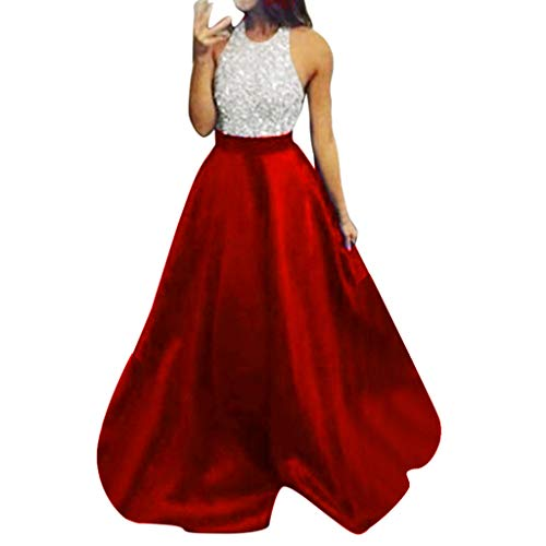 Bluestercool Damen Abendkleid, sexy, ärmellos, Halfter, lange Kleider, modisch, Pailletten, Patchwork, Brautjungferkleid, Kleid, Zeremonie Small Rouge-3