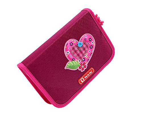 Hama Tweedy Heart Step Federmäppchen komplett mit Buntstifte, Lineal usw.