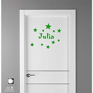 Artstickers Aufkleber für Kindermöbel-Dekoration, Türen, Wände, Name: Julia, in Grün, 20 cm Name, mit 10 Sternen für Freie Anbringung.