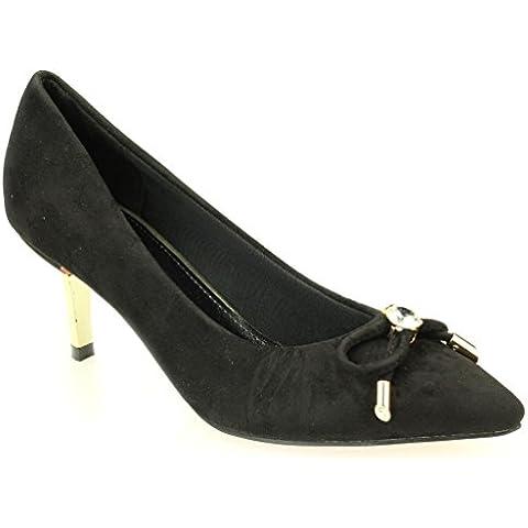 Mujeres Señoras Tarde Cortes Casual Mediano Kitten Tacón Sandalias Zapatos Tamaño (Negro,