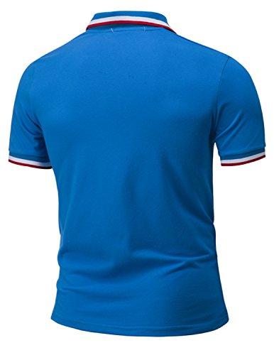 LIANIHK Polo Herren Poloshirt Einfarbig kurzarm M - 3XL Blau 1