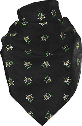 Feines Tuch mit Edelweiss in vielen Farben 60 X 60 cm, Farben:schwarz