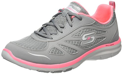 Skechers Damen Galaxies - Enigma Laufschuhe, Grau (Grey/Coral), 41 EU
