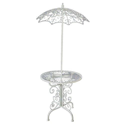 Deko Tisch STROMBOLI mit Sonnenschirm Garten Beistelltisch Tisch antik weiß