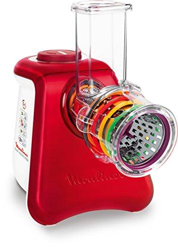 Moulinex DJ812510 Fresh Express - Tritatutto elettrico 5 in 1, in alluminio spazzolato, 34 x 20 x 30 cm, bianco e rosso