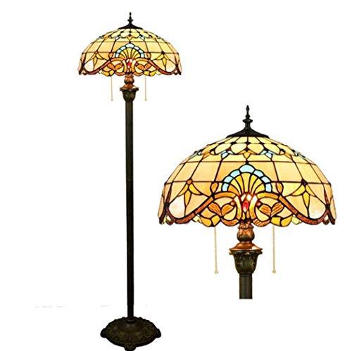 Yd&hLampadaire de style Tiffany, lampadaires faits à la main de 16 po en verre teinté, salon salle à manger chambre baroque, E27, Max 2 * 40W