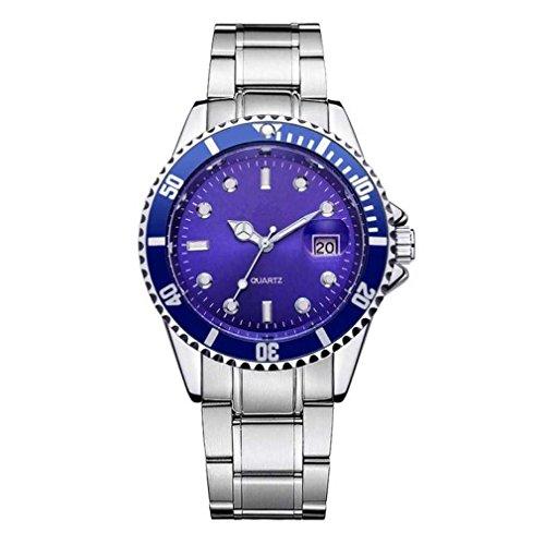 Fittingran orologio da uomo con calendario orologio da polso analogico al quarzo sportivo con datario in acciaio inossidabile (blu)