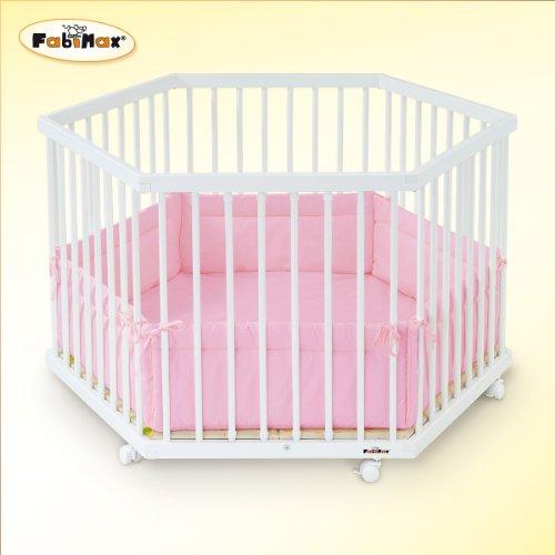 FabiMax 2311 Laufgitter 6-eckig, Buche, inklusive Laufgittereinlage Amelie, weiß lackiert / rosa