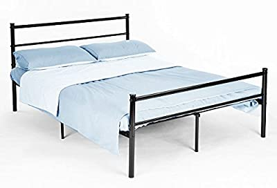 Premium Black Double Bed Frame 6ft x 4.6ft (198cm x 88cm) made from Sturdy Metal for Adults, Teenagers, Children, Dorms, Spare Rooms. Easy to Build with Stylish Minimalistic & Modern Design produced by Ricomex UK Ltd - quick delivery from UK.