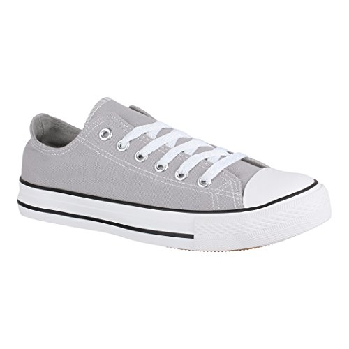 Elara Unisex Sneaker | Bequeme Sportschuhe für Damen und Herren | Low Top Turnschuh Textil Schuhe 01-A-XG200 Grey-39 (Grau-stoff-schuhe)