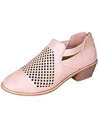 ac05c0c66 Zapatos de Vestir Sandalias Cerrado Mujer Ante Transpirable Oxford Uniforme  Moda Fiesta Calzado Primavera Verano Tacón 4cm Negro…