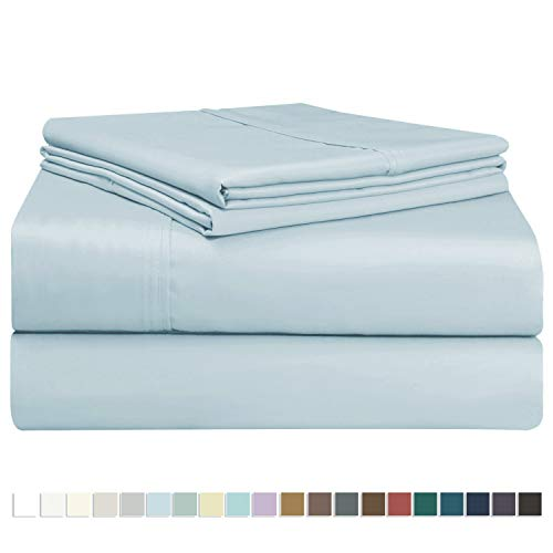 Juego de sábana de 400 conteo de hilos 5 piezas, de 100% algodón de fibra larga, lujoso suave saten...