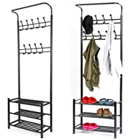 ICOCO Metal Multi-purpose Clothes Coat Stand Shoes Rack Hat Umbrella Bag Stand With 18 Hangers Entryway Organiser Max Load Capacity Up to 80 KG / 176 lbs