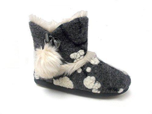 Femmes Chaud Dunlop Pantoufles Bottines Gris