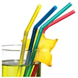 Susy Card 11144946 - Trinkhalme, Streifen uni, flexibel, farbig, sortiert, 50 Stück
