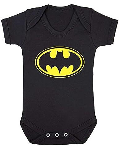 Batman Emblem Baby Vest. (12-18 months, Black Vest - Yellow