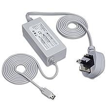 Fosmon 3 Pin UK Standard Charging AC Power Adapter Compatible with Nintendo Wii U GamePad