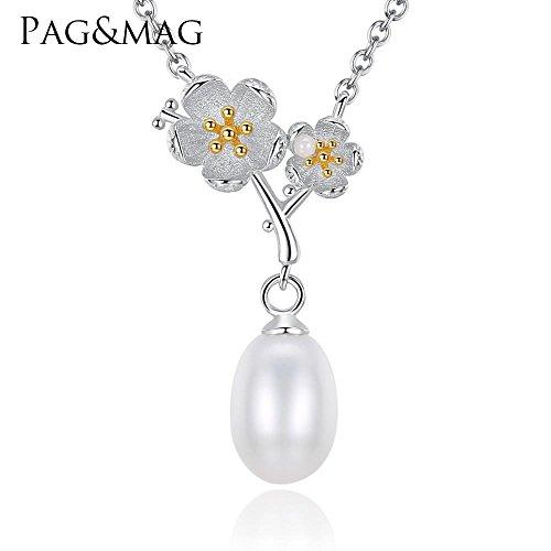Haixin Collier pendentif perle naturelle mode double couleur or galvanoplastie Mei collier chaîne longue 40 + 5 cm (réglable)