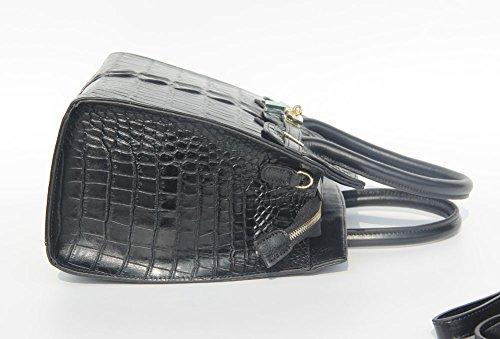 jsix Femme en Cuir Véritable Crocodile en relief Sacs à main Sac à bandoulière Marron - noir