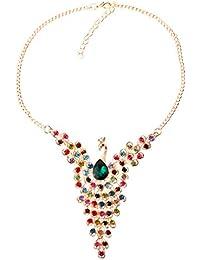 7cfc5211a167 YAZILIND Oro Vogue plateado cristalino colorido del pavo real del babero  del collar de la cadena