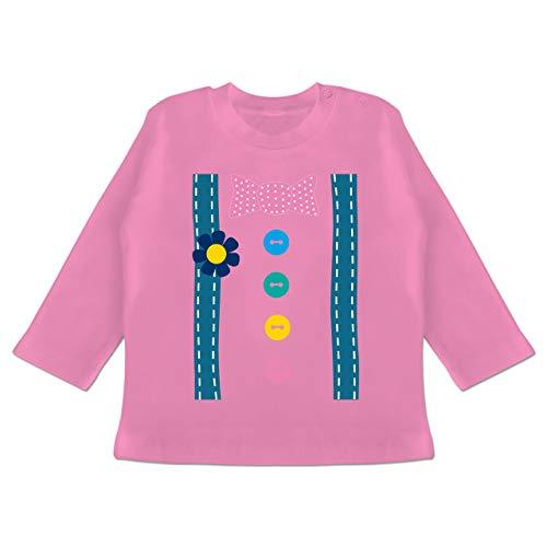 Karneval und Fasching Baby - Clown Kostüm - 12-18 Monate - Pink - BZ11 - Baby T-Shirt Langarm